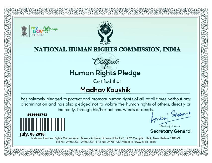 My New Certificate From My Government