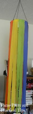 rainbow crepe paper chandelier