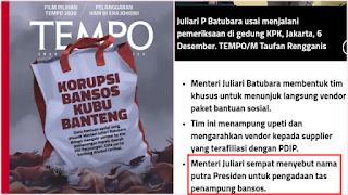 Heboh, Menteri Juliari Ungkap Pengadaan Tas Bansos Atas Rekomendasi Gibran Putera Jokowi