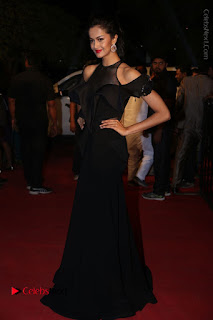 Actress Shu Aiyappa Stills in Stylish Black Long Dress at Gemini TV Puraskaralu 2016 Event  0064.JPG
