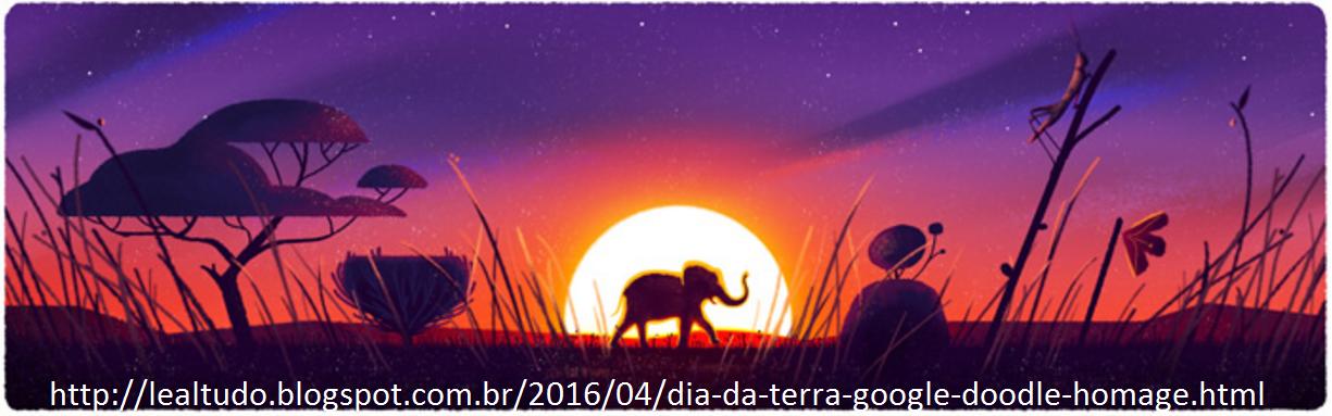Dia da Terra Google Doodle Homage Homenagem 22 04 2016 LeaLTudo - Elefante na Savana Africana