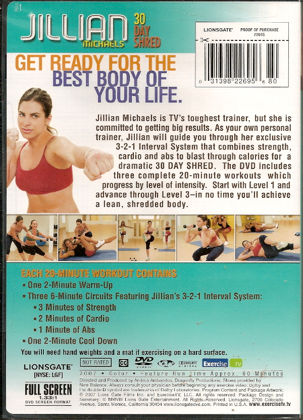 Checkpoints Barcodes : Jillian Michaels 30 Day Shred