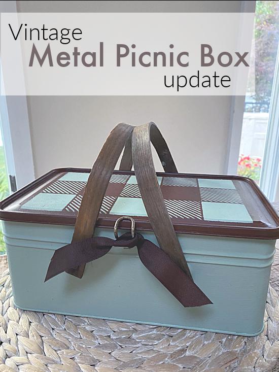 vintage metal picnic basket with pin overlay