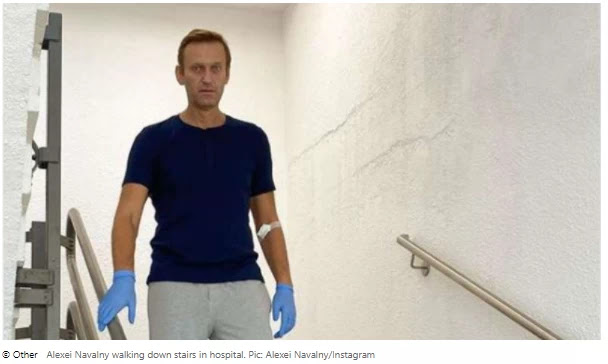 """He is recovering from the poison,"" Navalny said as he walked under the sieves."