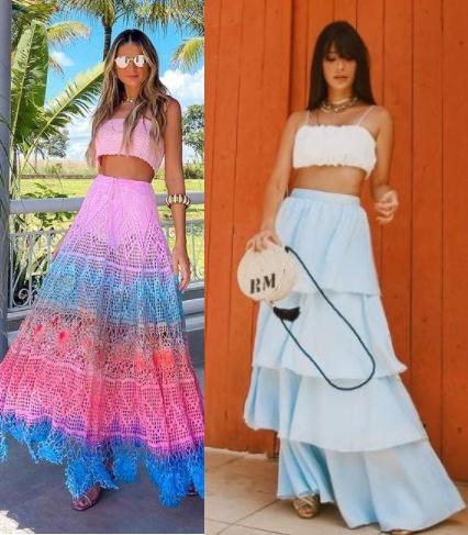Looks inspiração com blusa cropped, Thássia Naves, Gabriela Sales rica de marré