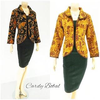 Batik Blouse Cardi Bobal Coklat2