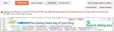 Blogger HTML Editor | Find closing head tag