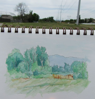 pen watercolor nature jordan river parkway sketch art plein air