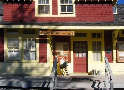 Bankhead Train Depot, now in Banff AB. Brenda Wilbee on porch