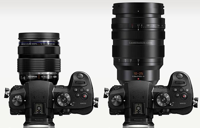 Сравнение габаритов Olympus 12-40mm f/2.8 и Panasonic Leica 10-25mm f/1.7
