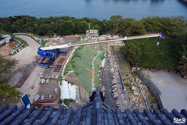 唐津城の石垣が工事中