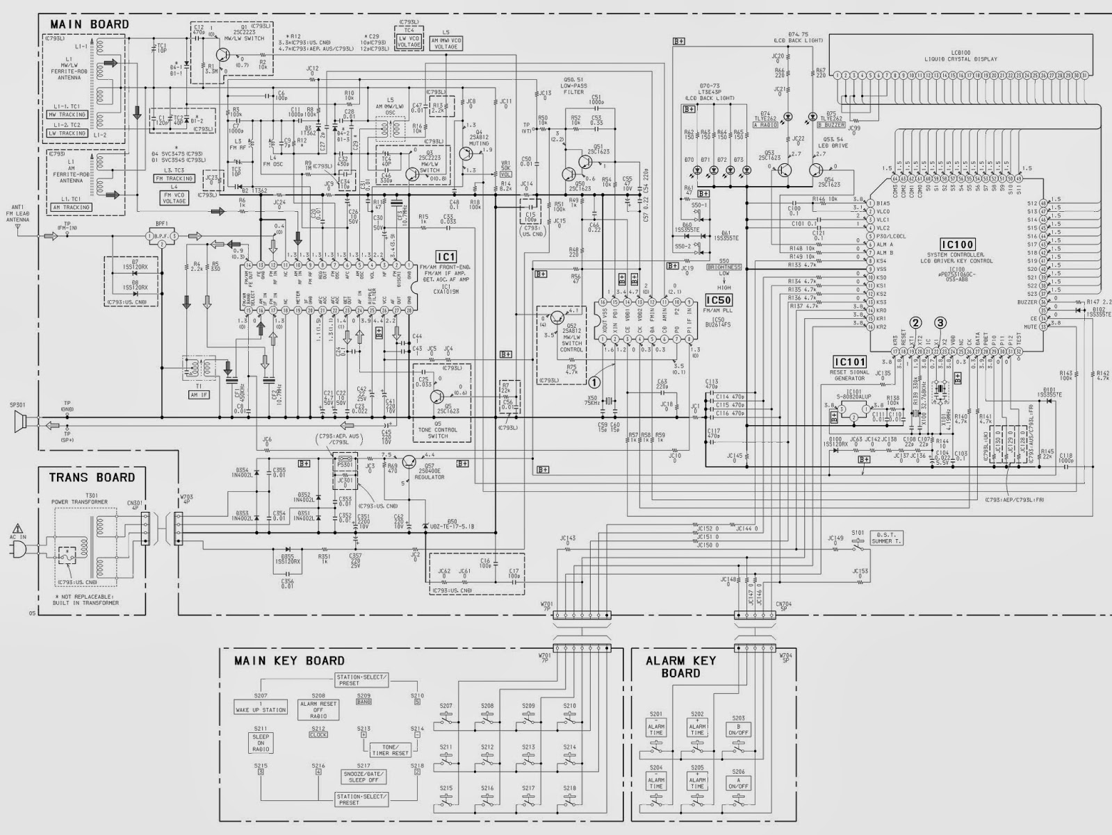 SONY ICF793_ SONY ICF793L _ CLOCK RADIO_SCHEMATIC