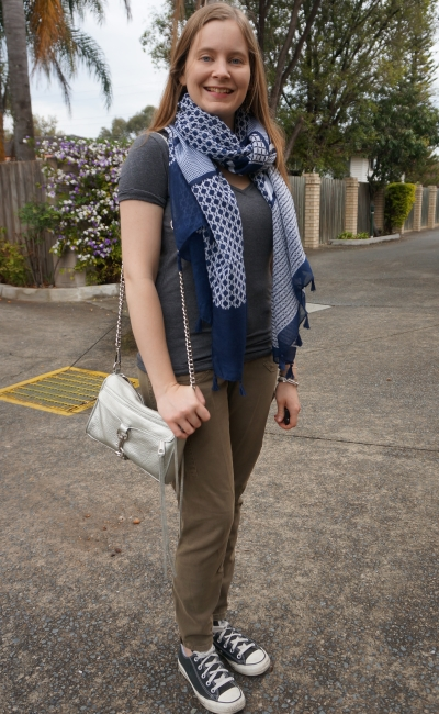 navy geo print scarf, grey tee, olive cargo pants and metallic mini MAC bag | away from blue