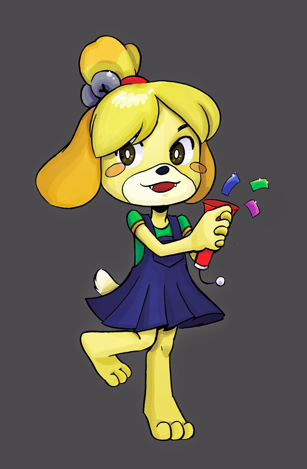 Isabelle, Animal Crossing, digital art, digital coloring, Nattosoup, Becca Hillburn