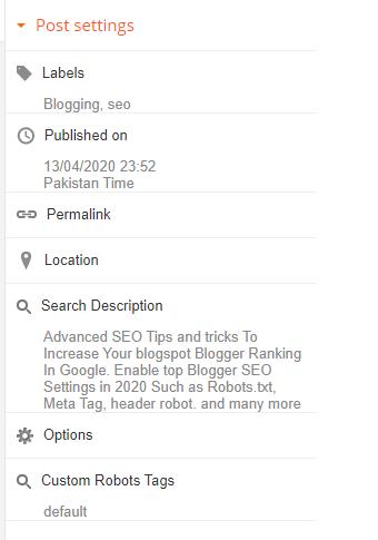 Blogspot Posting Seo settings