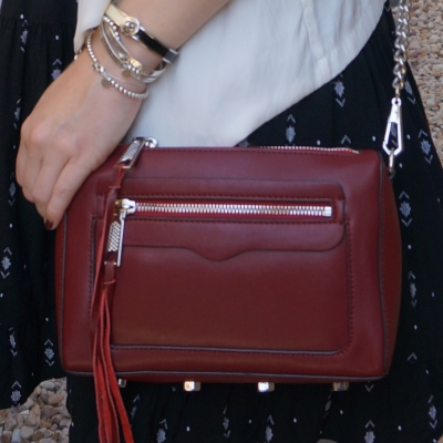 black and white outfit with Rebecca Minkoff Avery crossbody bag in burgundy | awayfromtheblue