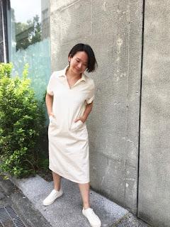 小眾生活壓線米白襯衫領大口袋洋裝老幫手實穿