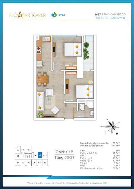 Thiết kế căn hộ 01B - FLC Star Tower