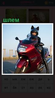651 слов девушка сидит на мотоцикле в шлеме 6 уровень