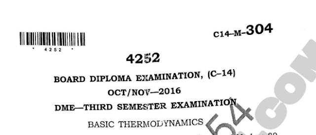 Sbtet Basic thermodynamics previous model question papers oct/noc 2016