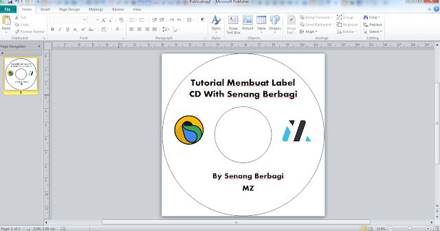 ukuran kertas Label CD di Microsoft Publisher