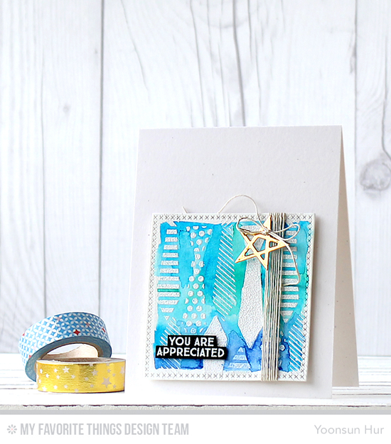 You Are Appreciated Card by Yoonsun Hur featuring the Get Down to Business and Lisa Johnson Designs Terrific Ties stamp sets and the Cross-Stitch Square STAX and Laina Lamb Design Lucky Stars Die-namics #mftstamps