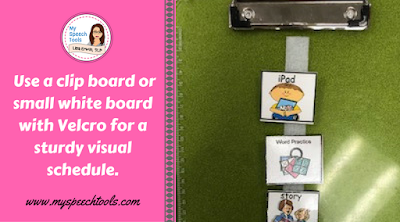 use velcro and picture symbols for visual schedules