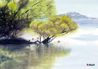 The tree on the lake Watercolor 湖上の木 水彩