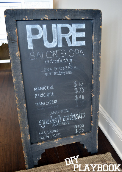 This rustic farmhouse style chalkboard is perfect for displaying salon prices