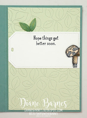 Handmade hello - encouragement card using Stampin' Up! Back on Your Feet stamp set, Biggest Wish stamp set, Stitched Greenery and Tailor Made Tags dies. Coloured with Stampin Blends markers.  Card by Di Barnes - Independent Stampin' Up! demonstrator - colourmehappy - sydneystamper - stampin up demo