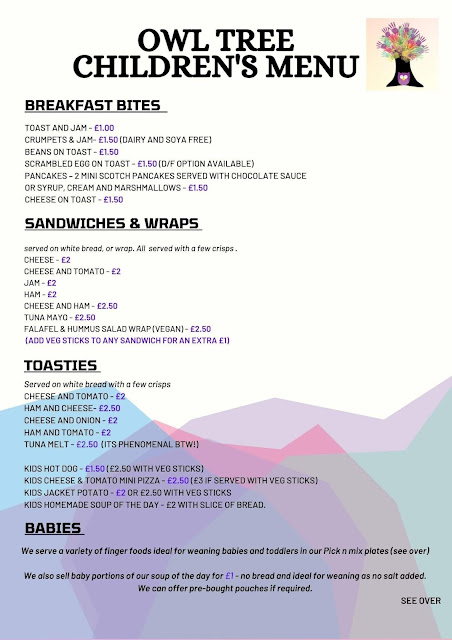 Owl Tree Cafe Newcastle | A Review  - children's menu