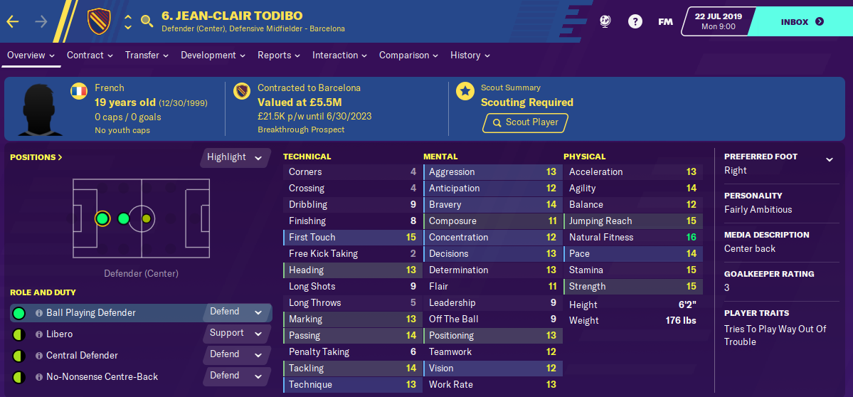 Jean Clair Todibo: Starting Attributes in FM2020