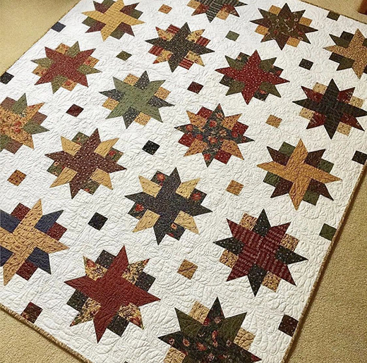 Ribbon Star Quilt made by Tracie Riceford Streams, The Free Tutorial designed by Jenny of Missouri Quilt Co