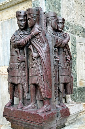 The Tetrarchs, porphyry, probably at the Philadelphion, in Constantinople, until 1204. Now in Venice