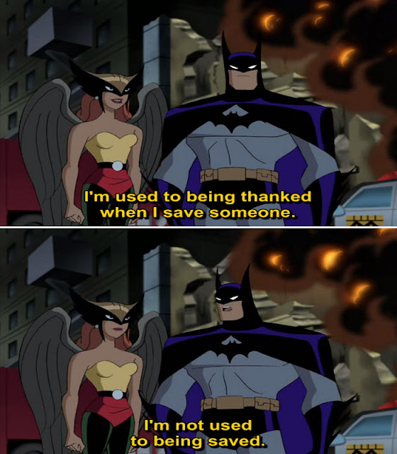 Hawkgirl complaining at Batman about being saved