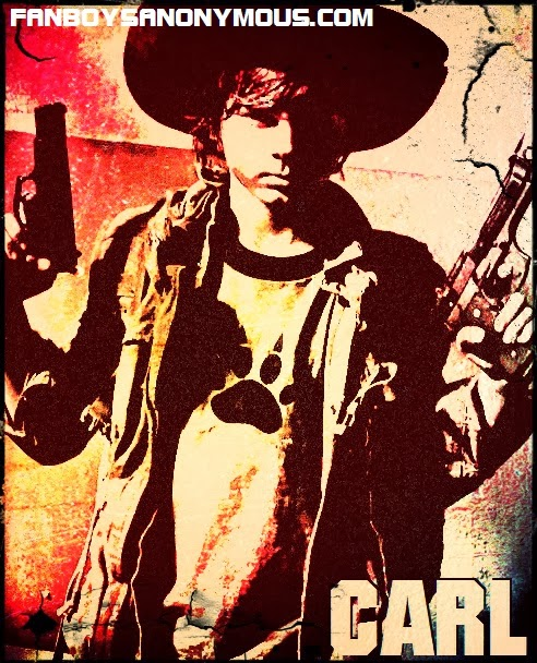 Carl Grimes sheriff deputy hat pose grindhouse art