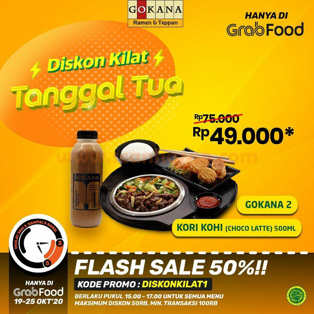 Gokana Promo Flash Sale 50% - DISKON KILAT Tanggal Tua Hanya di Grabfood