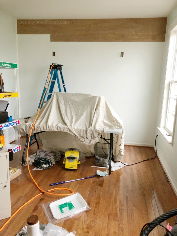 shiplapping office wall