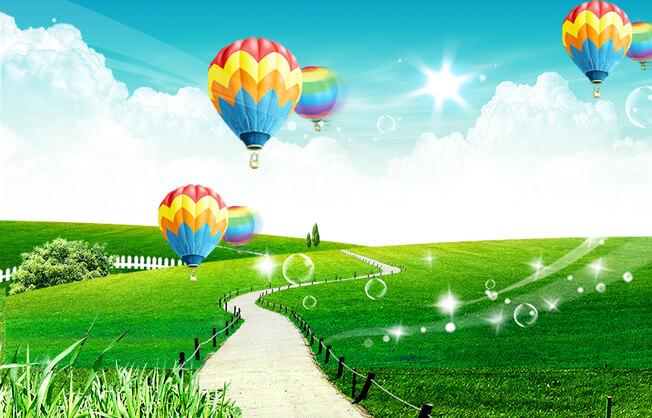 PSD Packgrounds free Download, تحميل خلفية سماء صافيه وخضره وبالون مفتوحه للفوتوشوب PSD, Grass and Clear Sky, PSD Balloon,