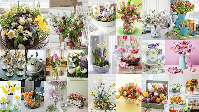 Πασχαλινές διακοσμήσεις τραπεζιού με ανοιξιάτικα λουλούδια