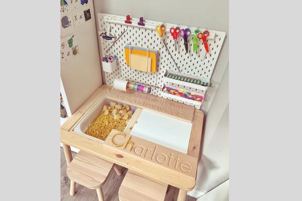 Ikea flisat table skadis pegboard desk with pasta in tray