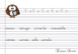 caderno de caligrafia letra C