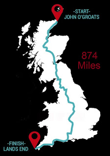 Map of UK showing John o' Groats to Land's End