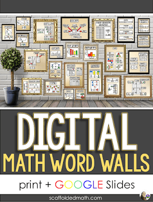 Over the years, I have written a lot about math word walls. In this post, I want to share the digital updates every one of my word walls has recently gotten. The digital word walls are all in Google Sides. In this post, I will show you how to send the digital word walls to students and link to some digital math posters that can be added to your virtual classroom. I'll also show you how to use the digital word walls in Microsoft Teams, if your school uses that LMS.
