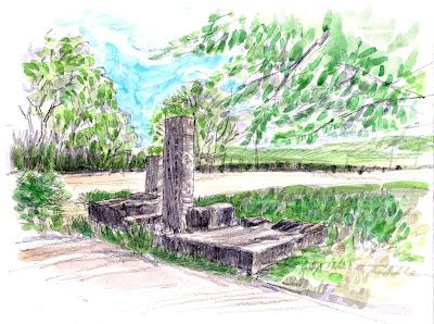 車屋井堰跡の石材類