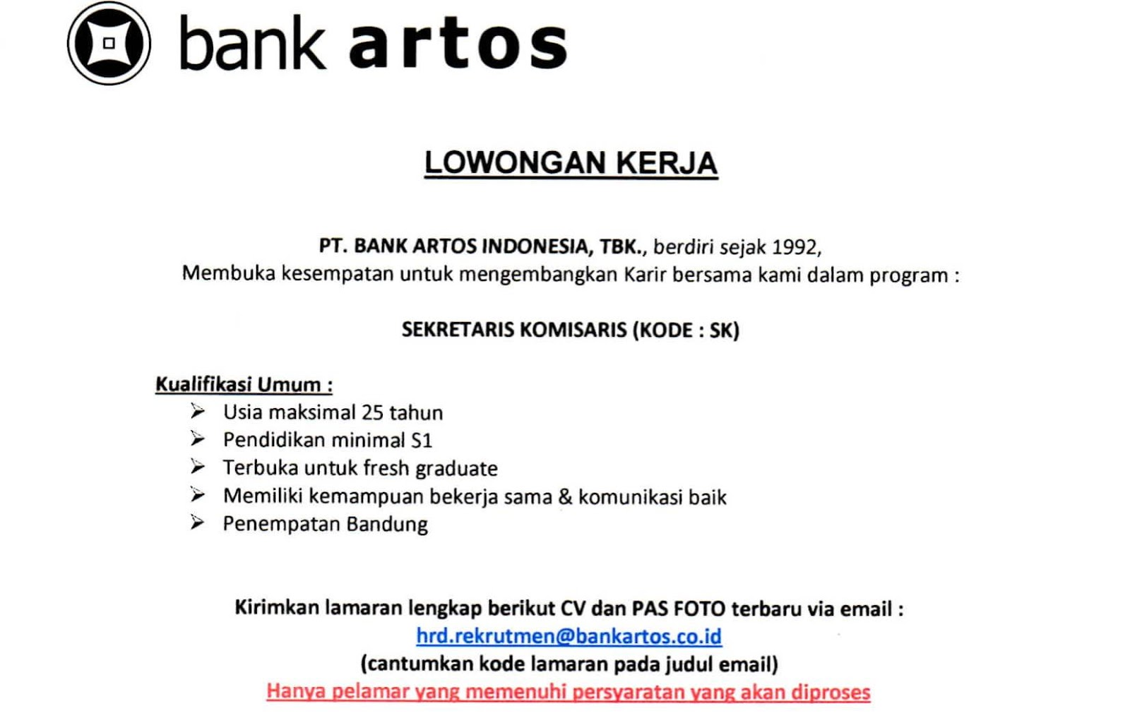 Lowongan Kerja Bank Artos Indonesia