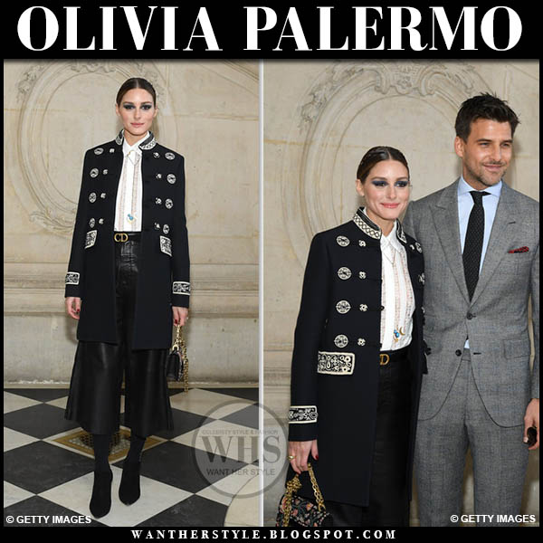 Olivia Palermo in black embroidered dior coat, white shirt and black leather cropped dior pants fashion week outfit january 21