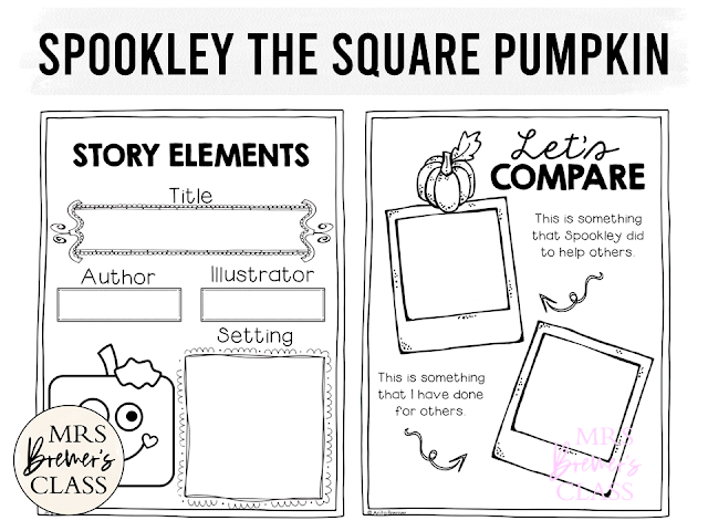 Spookley the Square Pumpkin book study companion activities and craftivity K-1