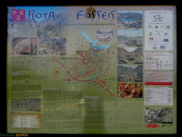 Panel informativo de la Ruta de los Fósiles en Penha García.