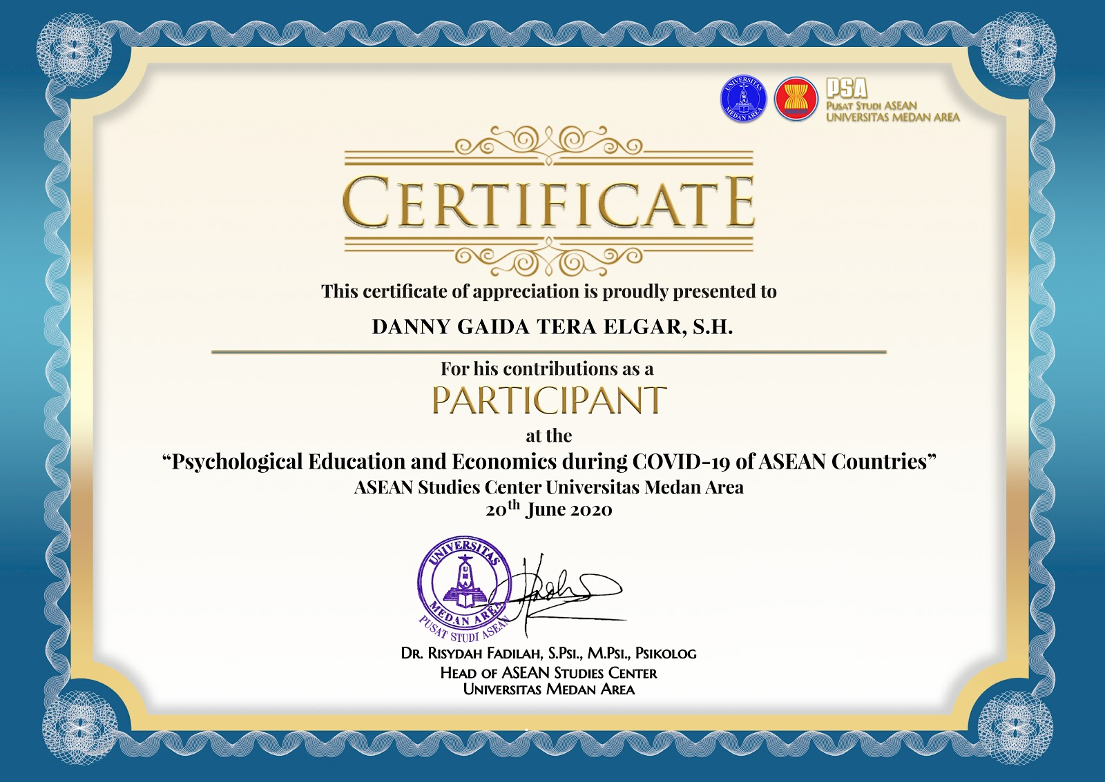 "Certificate Pusat Studi ASEAN ""Psychological Education and Economics During COVID-19 of ASEAN Countries"""